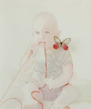 Amedeo, Oil and butterfly on paper, 35 x 26 cm, 2012