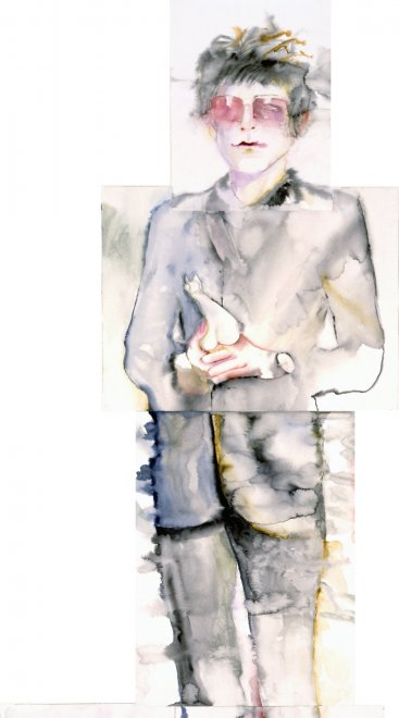 Linda, Watercolour on paper, 228 x 84 cm, 2001