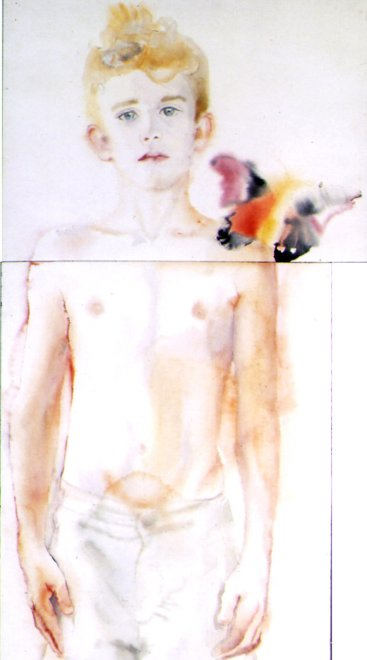 Cosmas, Watercolour on paper,153 x 50 cm, 2001