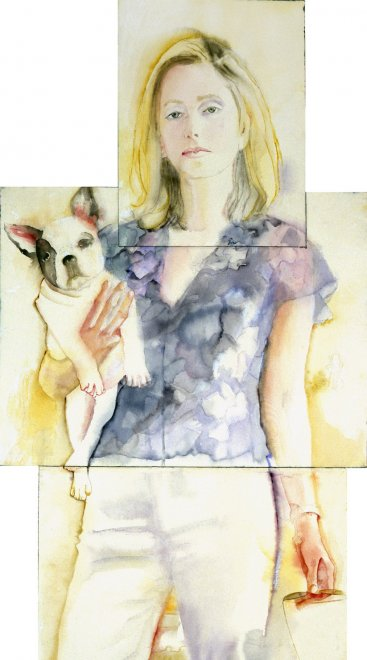 Marie-Chantal, Watercolour on paper, 217 x 60 cm, 2002