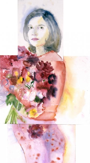 Alexandra, Watercolour on paper, 200 x 55 cm, 2001