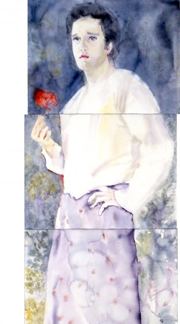 Ahmad, Watercolour on paper, 217 x 60 cm, 2003