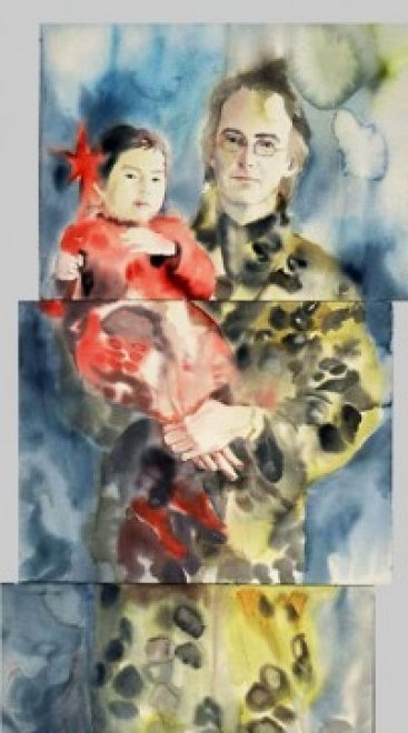 Brooks and Juno, Watercolor on paper, 200 x 55 cm, 2002