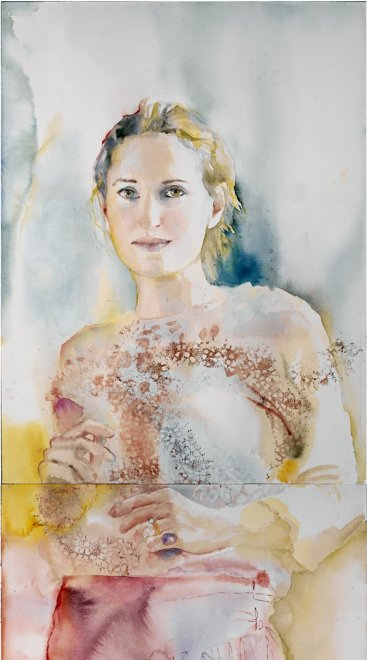 Christine, Watercolour on paper,  217 x 60 cm, 2002