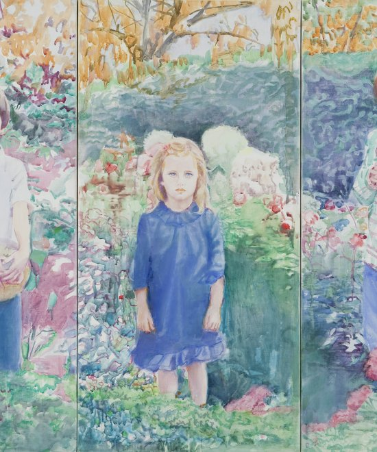 3 enfants dans un jardin, Oil on canvas, 98 x 144 cm, 2010